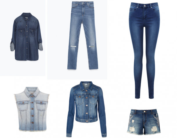 From top left: Denim shirt, €39.95, Zara; Ripped jeans, €39.95, Zara; Skinny jeans, €55, Miss Selfridge at Clerys; Denim Shorts, €41, Littlewoods; Denim jacket, €29.95, Vero Moda; Sleeveless denim jacket, €15, Penneys