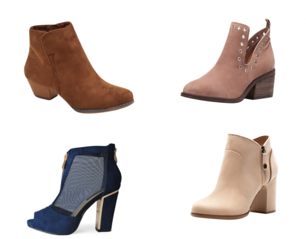 Brown boot, €25, Heatons; Light brown small boot and Cream ankle boot, from a selection at Bershka, Navy boot, €48, iclothing.com