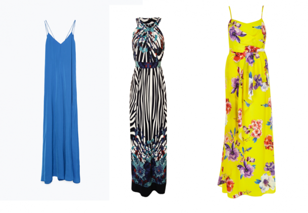 Blue shift maxi dress, €49.95, Zara; Printed halter dress, €69.95, Carraig Donn; Yellow dress, €87, River Island (online only)