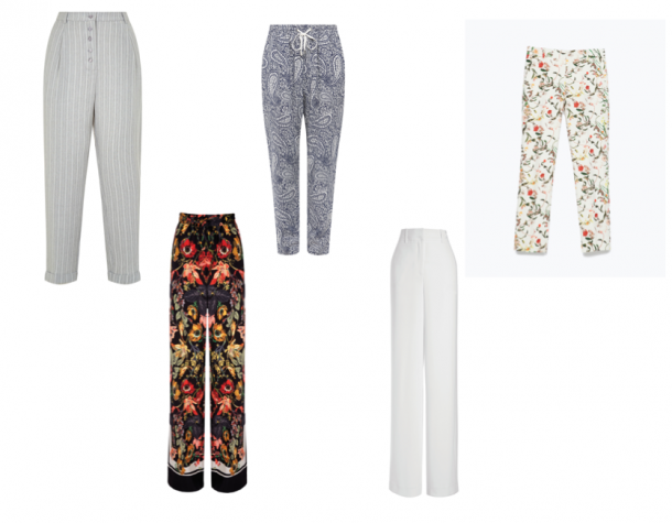 From top left; Grey pin stripe, €29.99, New Look; Printed trousers, €22.99, New Look; Floral print trousers, €39.95, Zara; White wide leg trousers, €49, Next; Printed wide leg trousers, €48, Next