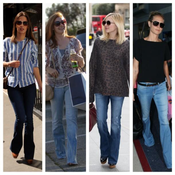 celebrities bootcut jeans