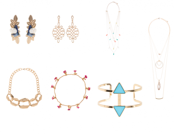 Cuff earrings, €9.99, Parfois; Gold earrings, €6.99, Parfois, Layered necklace, €19.90, Accessorize; Chain detail necklace, xx Parfois; Blue stone cuff bangle, €6.99, New Look; Stone anklet, €9.90, Accessorize; Gold necklace, xx, Parfois