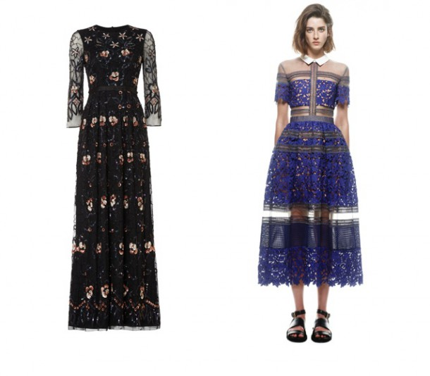 Left, Dress by Needle and Thread, €315; Blue dress, €305, Self-Portrait both available at BT2
