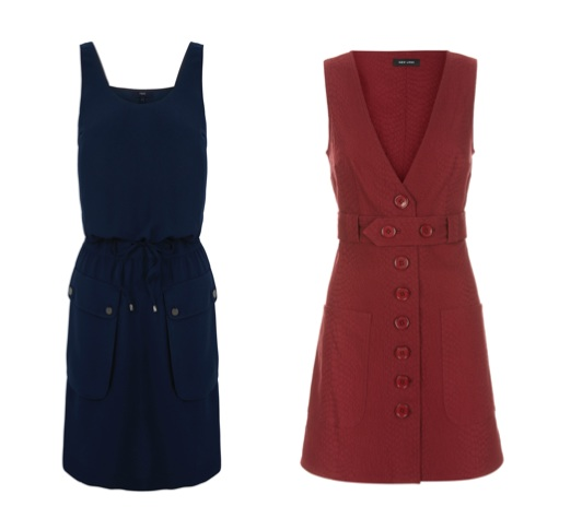 Navy dress, €52, Next; Red v-neck dress, €24.99, New Look (AW15 soon to arrive in store)