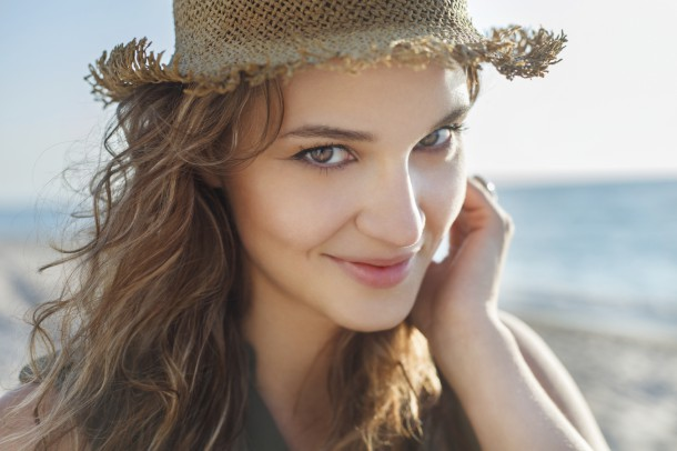 Beautiful girl close up portrait. Outdoor shoot