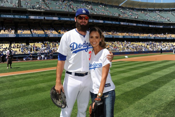 LOS ANGELES, CA - AUGUST 17:  In this handout photo provided by Los Angeles Dodgers, Jessica Alba is seen during the Los Angeles Dodgers vs Milwaukee Brewers August 17, 2014 at Dodger Stadium in Los Angeles, California.  Alba threw out the first pitch.  (Photo by Jon SooHoo/Los Angeles Dodgers via Getty Images)
