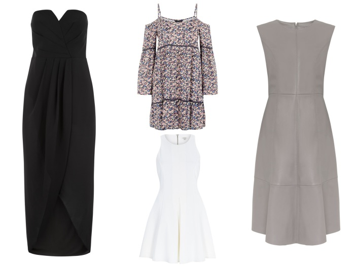 Black dress, €39.99, New Look; Off the shoulder printed dress, €29.99, New Look; Leather sleeveless dress, from the Autumn Winter collection at M&S; White skater style dress, reduced to €24, River Island