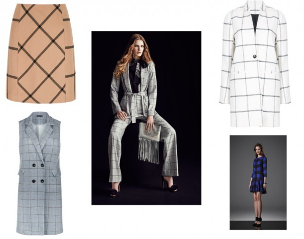 Skirt, €x, Next; Check suit, River Island; Jacket, €30, Penneys; Blue check dress, Reiss; Sleeveless jacket, €29.99, New Look