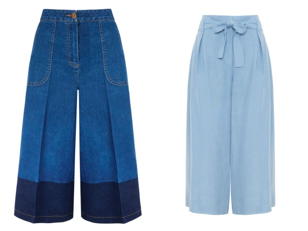 Denim culottes, Simply Be; Blue linen culottes, M&S