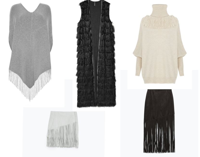 Grey poncho, €18, Penneys; Black sleeveless jacket, €35, H&M; Cream jumper, from the new AW collection at River Island; Black fringed skirt, €49.95, Zara; Grey mini skirt, €25.95, Zara