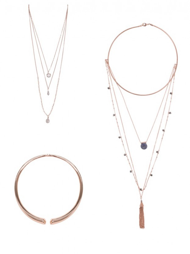 From top left: Layered necklace, 18.50; Tassle necklace, €26.50; Choker, €18.50 all from Accessorize