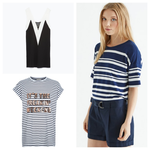 """Black and white top, €25.95, Zara; Stripe t-shirt, reduced to €15, Oasis; """"Weekend"""" t-shirt, reduced to €14, River Island"""