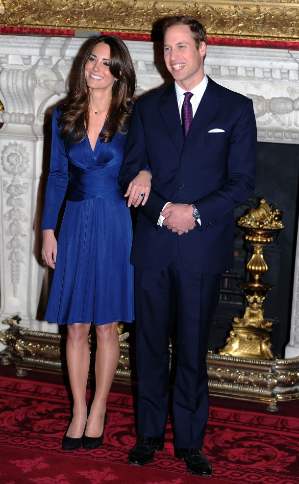 Prince William and Kate Middleton pose for photographs in the State Apartments of St James Palace on November 16, 2010 in London, England. After much speculation, Clarence House today announced the engagement of Prince William to Kate Middleton. The couple will get married in either the Spring or Summer of next year and continue to live in North Wales while Prince William works as an air sea rescue pilot for the RAF. The couple became engaged during a recent holiday in Kenya having been together for eight years. London, England - 16.11.10 Where: London, United Kingdom When: 16 Nov 2010 Credit: Zak Hussein/WENN.com