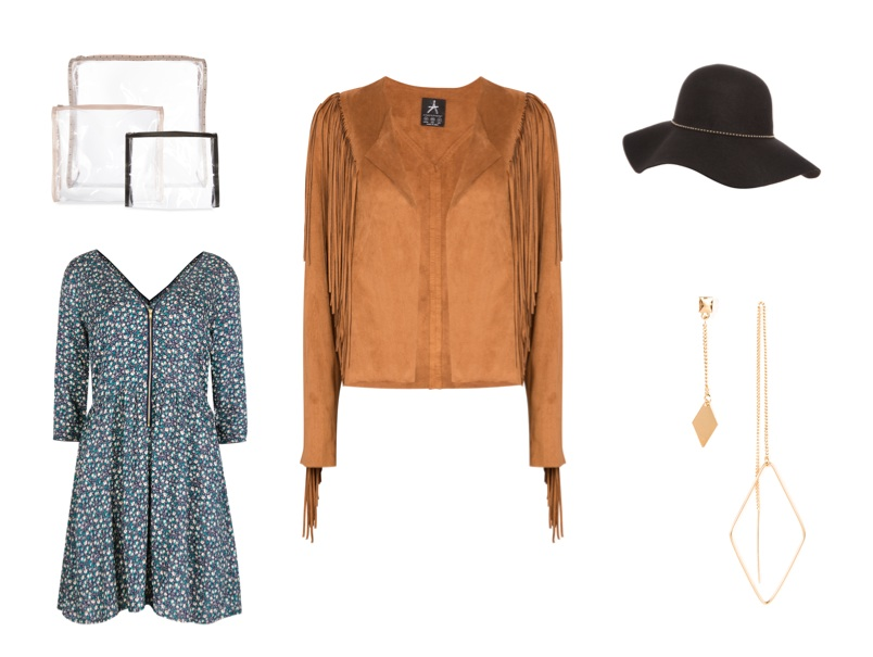 Plastic Bags, €5; Suede jacket, €30; Floppy hat, €10; Earrings, €3; Dress, €15; all from Penneys