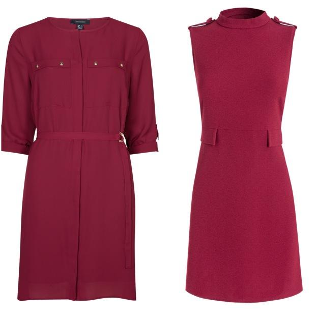 Left, Shirt dress, Penneys; Right, High collar dress, €35, Red Herring at Debenhams