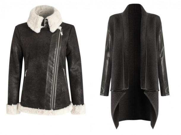 Faux fur collar jacket, €180 & Cardigan jacket with leather panel, €103 both from Debenhams