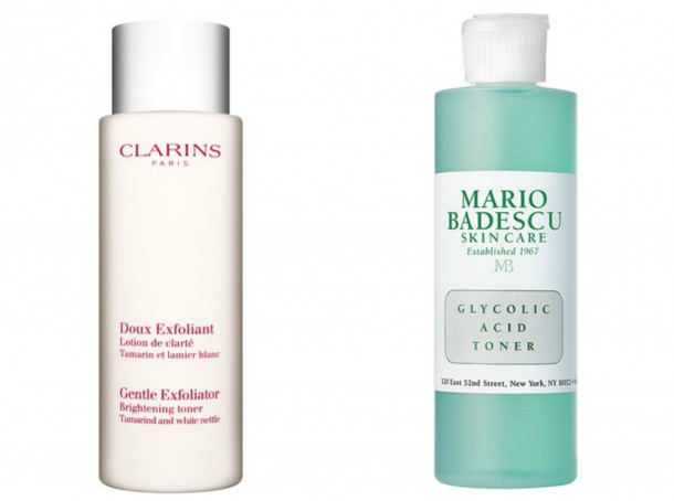Left: Clarins Gentle Exfoliating Brightening Toner,  Mario Badescu Glycolic Acid Toner