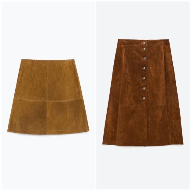 Mini skirt, €49.95; Midi skirt, €69.95 both from Zara