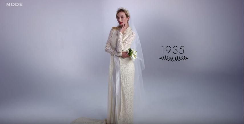 100 Years Of Wedding Dresses In 3 Minutes We Heart 1935 Beaut