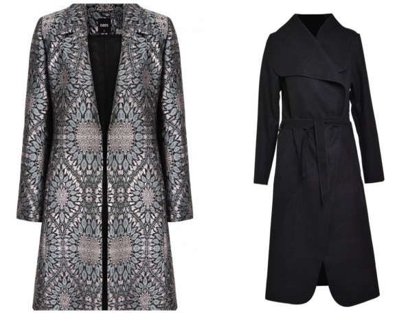 Left, Jacquard Coat, available soon at Oasis; Black felt coat, €39, Iclothing.com