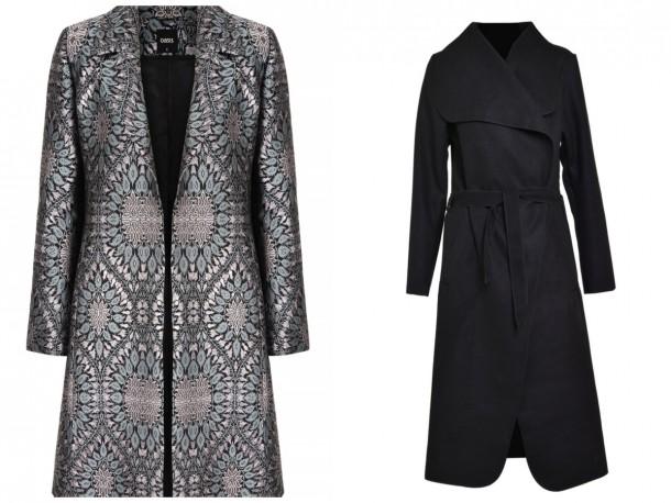 Left, Jacquard Coat, available soon at Oasis; Black felt coat, €39, Iclothing.com