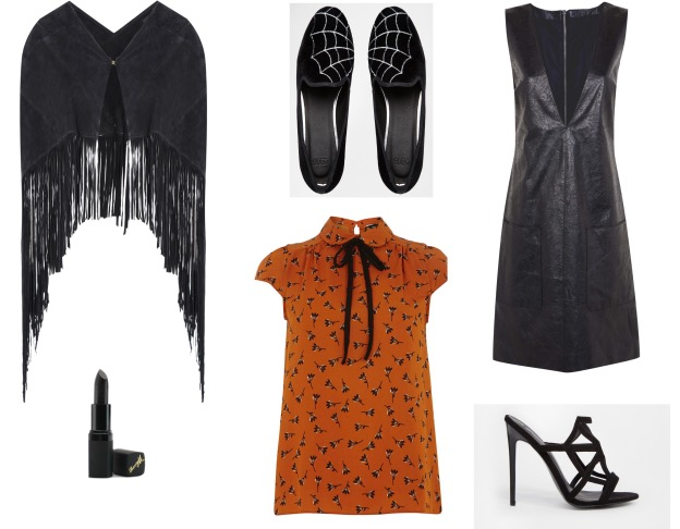 From top left: Cape, €70, Dorothy Perkins, Shoes, €37, Asos.com; Dress, €45, Dorothy Perkins; Shoes, €67, Asos.com; Top, €24, Dorothy Perkins; Barry M Lipstick, from a selection at Boots