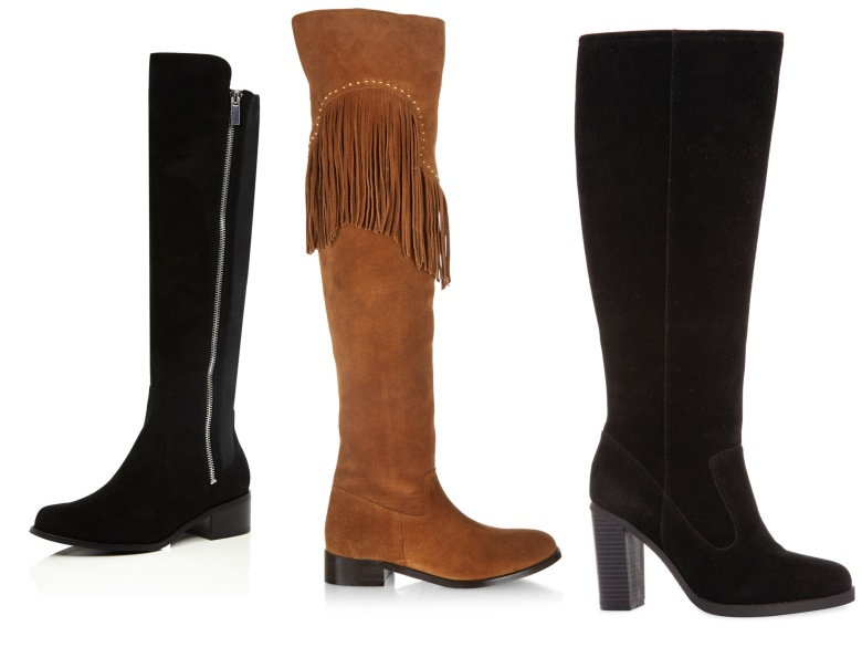 From left: Zip up boot, €75, River Island; Tan fringed boots from the new collection at New Look; Mid calf boot, €25, Penneys