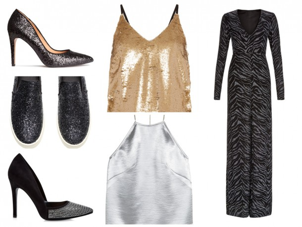From top left: Glitter shoes, €49.99, H&M; Gold vest, €12, Penneys; Maxi dress, €44.99, New Look; Silver vest, €24.99, H&M; Stilettos,  €29.99, New Look, Runners,   €29.99, H&M