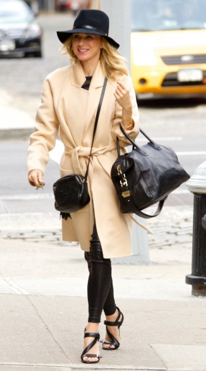 Naomi Watts out and about in New York City wearing a large black hat, beige cashmere coat, leather pants, high heel shoes and carrying a Naomi Watts out and about in New York City wearing a large black hat, beige cashmere coat, leather pants, high heel shoes and carrying two Givenchy bags Featuring: Naomi Watts Where: New York City, New York, United States When: 20 Oct 2014 Credit: Alberto Reyes/WENN.com
