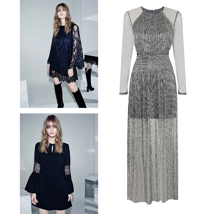 Lace sleeve dress, €62; Silver maxi dress, €76; Bell sleeve dress, €51