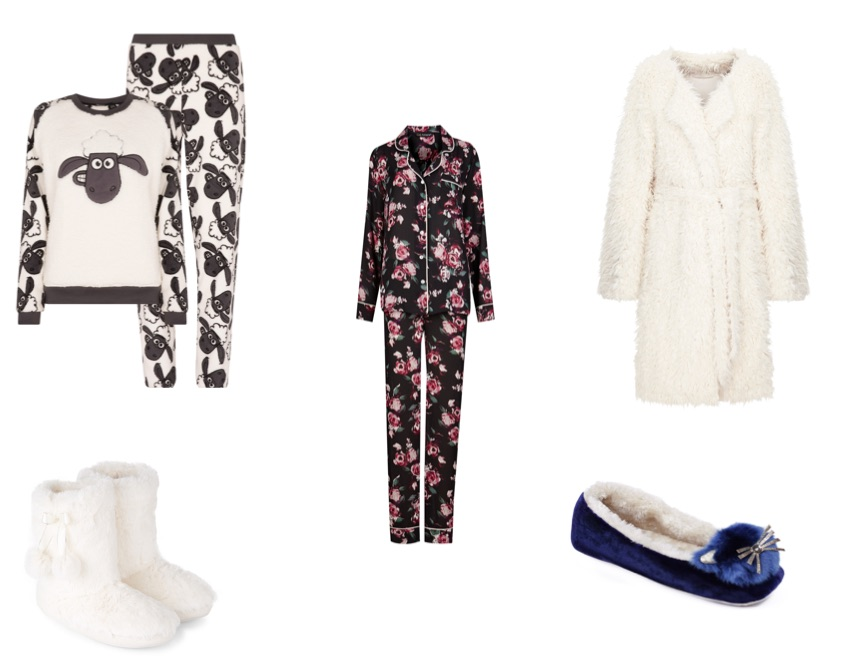 From top left: Shaun the Sheep set, €14, Penneys; Floral pyjamas, Rosie for Autograph at M&S, €; Dressing gown, M&S, €; Blue slippers, €49, Brown Thomas; Booties, €11.99, New Look