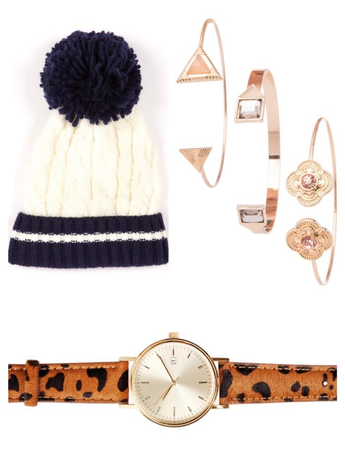 Hat, €3, Penneys; Bracelets, €3, Penneys; Watch, €24, Next