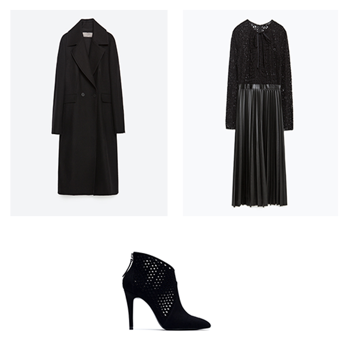 Coat, €89.95; Dress, €59.95; Boots, €49.95 all from Zara