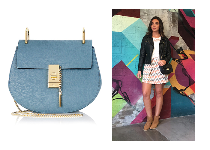 "Left, Chloe ""Drew"" Bag, €1,290; Right, Black Penneys Saddle Bag, €8"