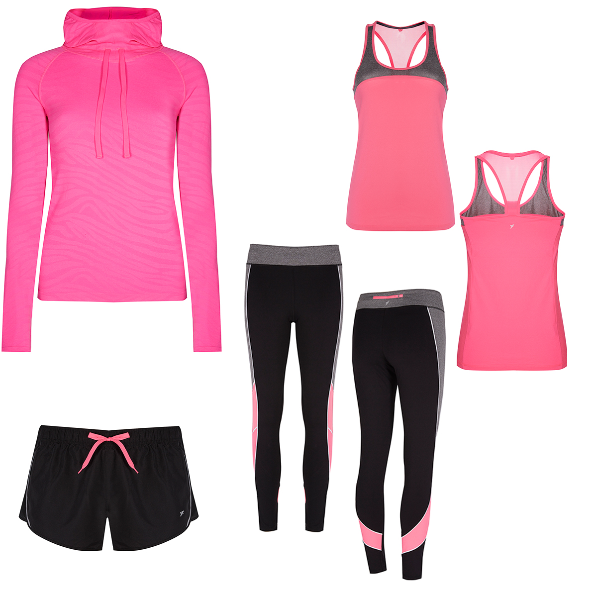 Pink jacket, €11; Pink vest, €8; Leggings, €13; Shorts, €5 all from Penneys