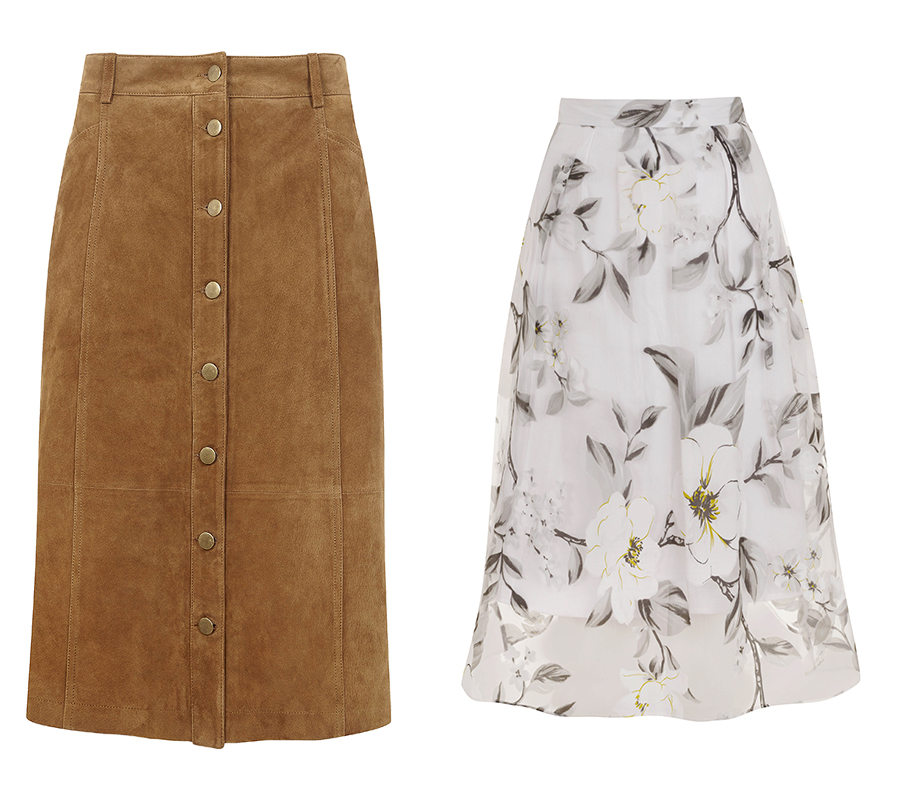 Suede skirt, Monsoon; Floral skirt, Miss Selfridge both available in store over the season