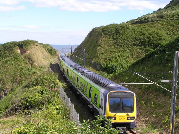 DART_train_approaching_Bray_from_Bray_Head_Wicklow_Ireland_2010