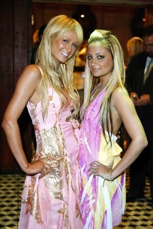 "HOLLYWOOD, CA - APRIL 14: Nicole Richie and Paris Hilton (L) aririve for the ""Simple Life 2"" Welcome Home Party at The Spider Club on April 14, 2004 in HHollywood, California. (Photo by Frazer Harrison/Getty Images)"