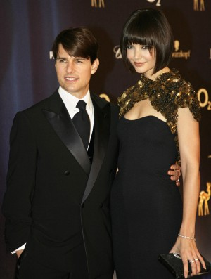"US actor Tom Cruise and his wife Katie Holmes pose on the red carpet before attending the Bambi media prize awards ceremony, 29 November 2007 in Dusseldorf. The awards ceremony takes place every year under the patronage of German publisher Hubert Burda and awards nominees in the sectors of communication, entertainment and show business as well as economy, politics and sports. Tom Cruise was awarded with a Bambi category ""Courage"". AFP PHOTO DDP/ SASCHA SCHUERMANN GERMANY OUT (Photo credit should read SASCHA SCHUERMANN/AFP/Getty Images)"