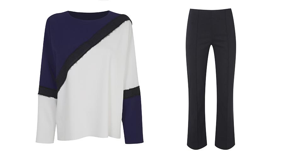 Top, €55, Topshop; Trousers, €25, Dorothy Perkins,