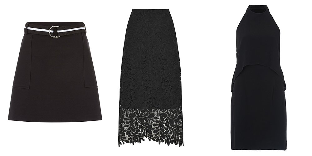 Mini skirt, €29.99, New Look; Lace skirt, x, M&S; Black dress, €179, French Connection