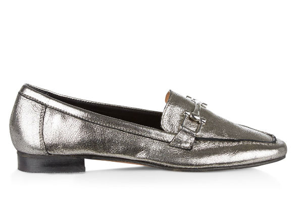 new look silver loafer