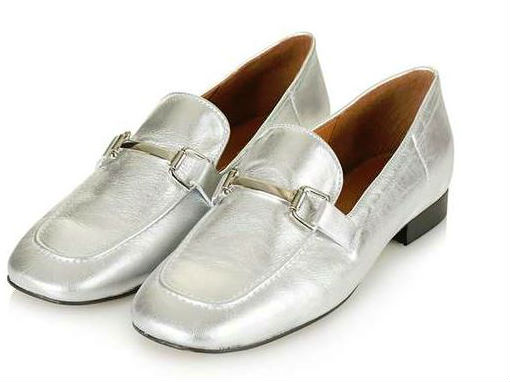 topshop silver loafers