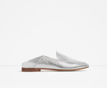 Zara silver loafer