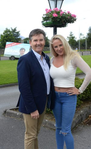 12-8-2016: Daniel O'Donnell serenades superfan Molly Kate Sloyan from Kinsale at the INEC Killarney on Friday after inviting her to join him at his sell out shows. Molly Kate became an internet sensation when her reaction as an audience member of the Late Late Show she was less than pleased with comedian Mario Rosenstock's impersonatation of Daniel O'Donnell. SO Daniel invited to meet her to meet him in person in Killarney on Friday. Photo: Don MacMonagle