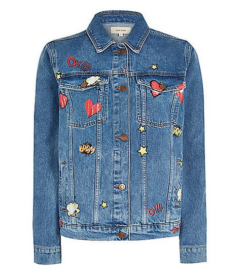 River Island Comic Print Denim Jacket