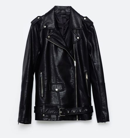 zara long leather jacket