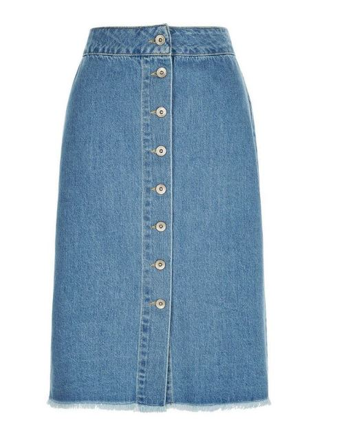 new look denim midi skirt
