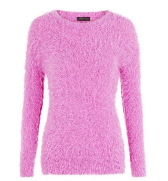 pink fluffy jumper new look