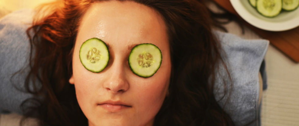 woman face cucumbers